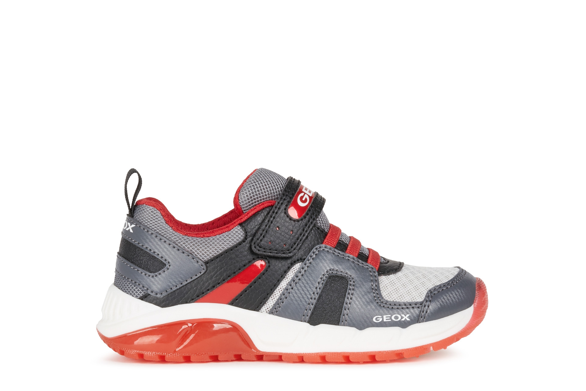 Geox Boys Light-Up Trainer   J SPAZIALE   Grey Red