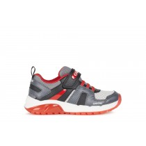 Geox Boys Light-Up Trainer | J SPAZIALE | Grey Red