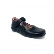 Girls Black School Shoe-Petasil-Beth 2  (Black Leather)